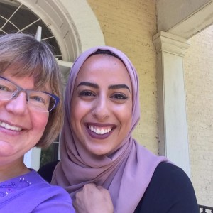 "SALVI Founder Nancy Llewellyn snaps an ""ipsimaginem"" at Claymont with Sumayya from Al-Jazeera International."